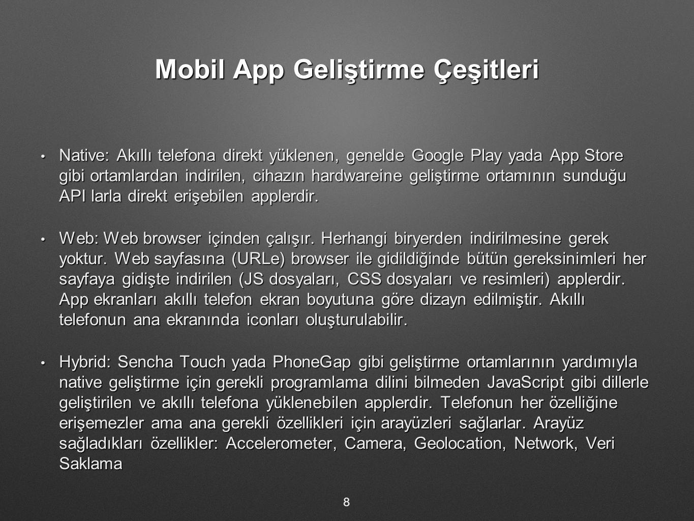 Mobil App Geliştirme Çeşitleri Native: Akıllı telefona direkt yüklenen, genelde Google Play yada App Store gibi ortamlardan indirilen, cihazın hardwareine geliştirme ortamının sunduğu API larla direkt erişebilen applerdir.