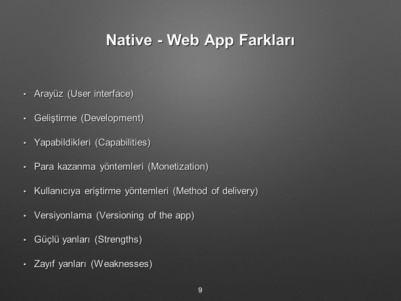 Native - Web App Farkları Arayüz (User interface) Arayüz (User interface) Geliştirme (Development) Geliştirme (Development) Yapabildikleri (Capabilities) Yapabildikleri (Capabilities) Para kazanma yöntemleri (Monetization) Para kazanma yöntemleri (Monetization) Kullanıcıya eriştirme yöntemleri (Method of delivery) Kullanıcıya eriştirme yöntemleri (Method of delivery) Versiyonlama (Versioning of the app) Versiyonlama (Versioning of the app) Güçlü yanları (Strengths) Güçlü yanları (Strengths) Zayıf yanları (Weaknesses) Zayıf yanları (Weaknesses) 9