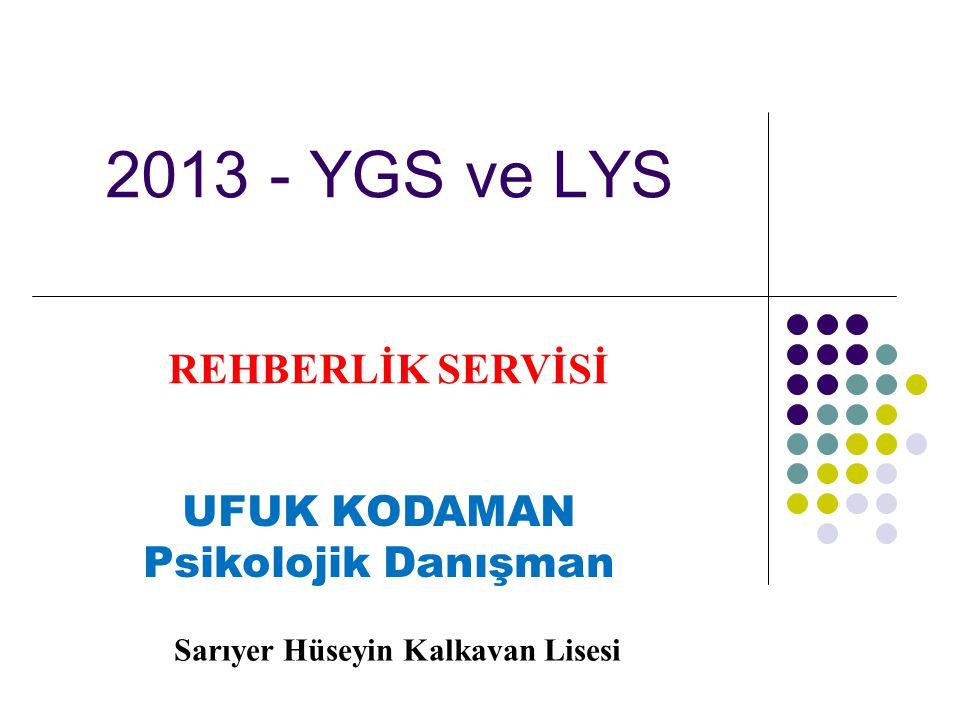 2013 - YGS ve LYS REHBERLİK SERVİSİ UFUK KODAMAN Psikolojik Danışman Sarıyer Hüseyin Kalkavan Lisesi