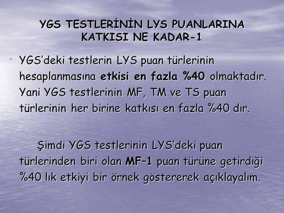 YGS TESTLERİNİN LYS PUANLARINA KATKISI NE KADAR-1 YGS'deki testlerin LYS puan türlerinin hesaplanmasına etkisi en fazla %40 olmaktadır. Yani YGS testl