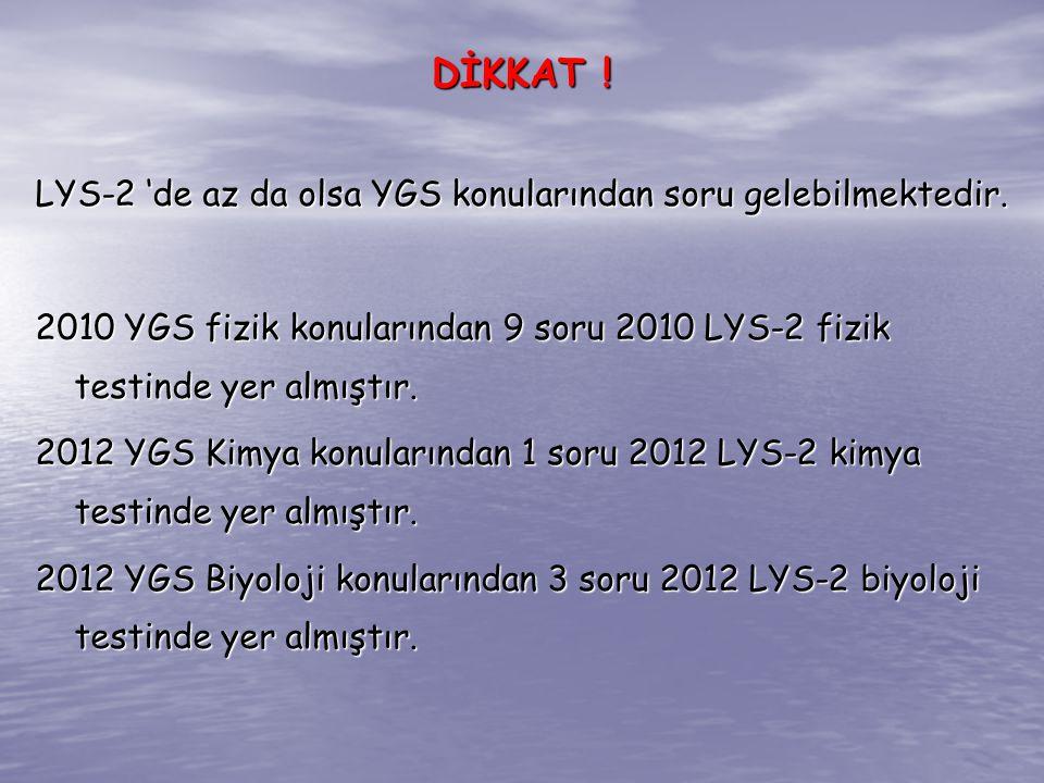 LYS-2 'de az da olsa YGS konularından soru gelebilmektedir. 2010 YGS fizik konularından 9 soru 2010 LYS-2 fizik testinde yer almıştır. 2012 YGS Kimya