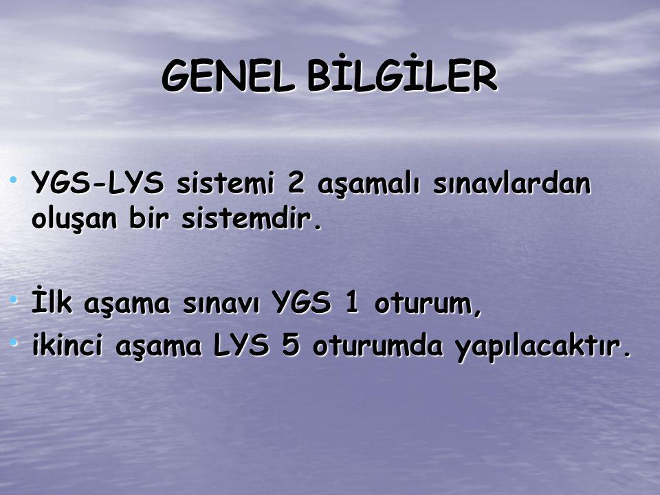 YGS-LYS sistemi 2 aşamalı sınavlardan oluşan bir sistemdir. YGS-LYS sistemi 2 aşamalı sınavlardan oluşan bir sistemdir. İlk aşama sınavı YGS 1 oturum,