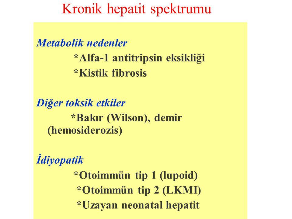 Kronik hepatit spektrumu Metabolik nedenler *Alfa-1 antitripsin eksikliği *Kistik fibrosis Diğer toksik etkiler *Bakır (Wilson), demir (hemosiderozis)