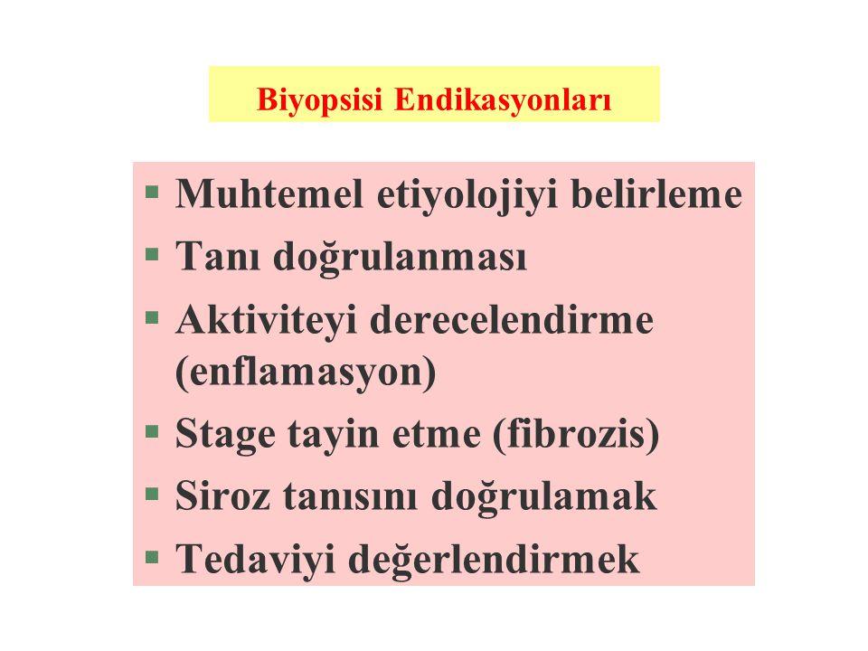 Biyopsisi Endikasyonları §Muhtemel etiyolojiyi belirleme §Tanı doğrulanması §Aktiviteyi derecelendirme (enflamasyon) §Stage tayin etme (fibrozis) §Sir