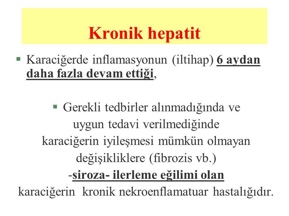 Kronik hepatit §Karaciğerde inflamasyonun (iltihap) 6 aydan daha fazla devam ettiği, §Gerekli tedbirler alınmadığında ve uygun tedavi verilmediğinde k