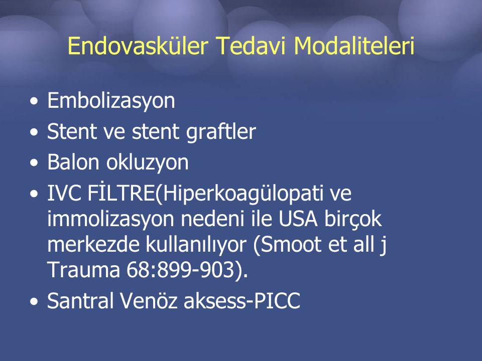 Endovasküler Tedavi Modaliteleri Embolizasyon Stent ve stent graftler Balon okluzyon IVC FİLTRE(Hiperkoagülopati ve immolizasyon nedeni ile USA birçok merkezde kullanılıyor (Smoot et all j Trauma 68:899-903).