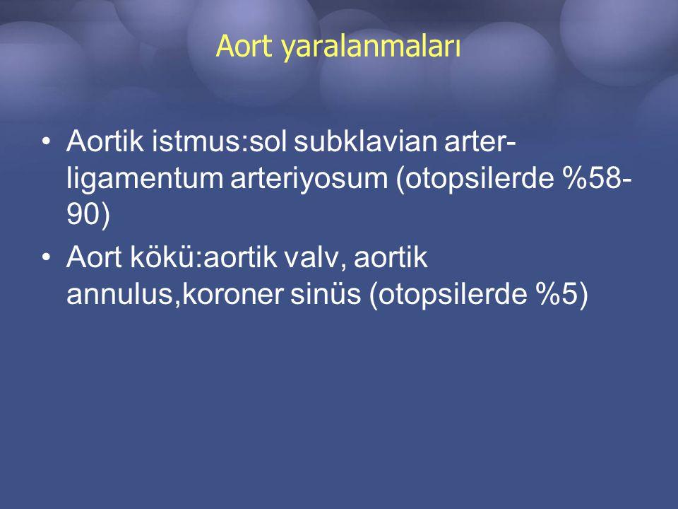 Aort yaralanmaları Aortik istmus:sol subklavian arter- ligamentum arteriyosum (otopsilerde %58- 90) Aort kökü:aortik valv, aortik annulus,koroner sinüs (otopsilerde %5)