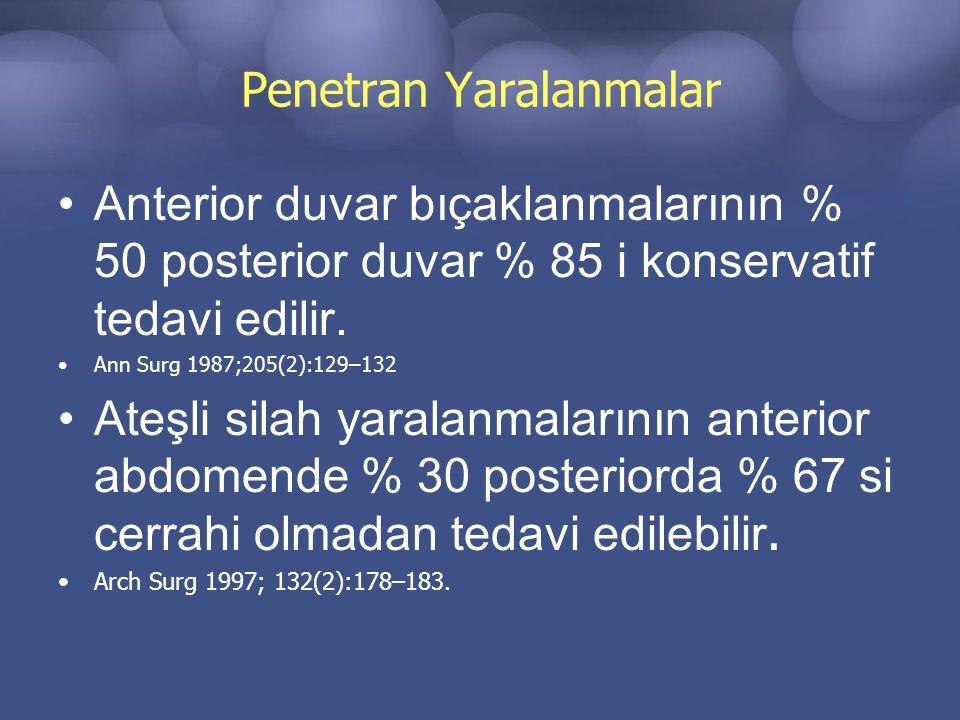 Penetran Yaralanmalar Anterior duvar bıçaklanmalarının % 50 posterior duvar % 85 i konservatif tedavi edilir.