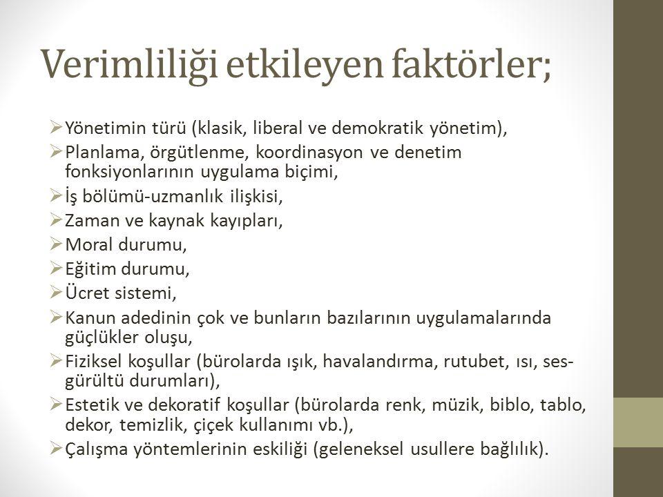 Verimliliği etkileyen faktörler;  Yönetimin türü (klasik, liberal ve demokratik yönetim),  Planlama, örgütlenme, koordinasyon ve denetim fonksiyonla