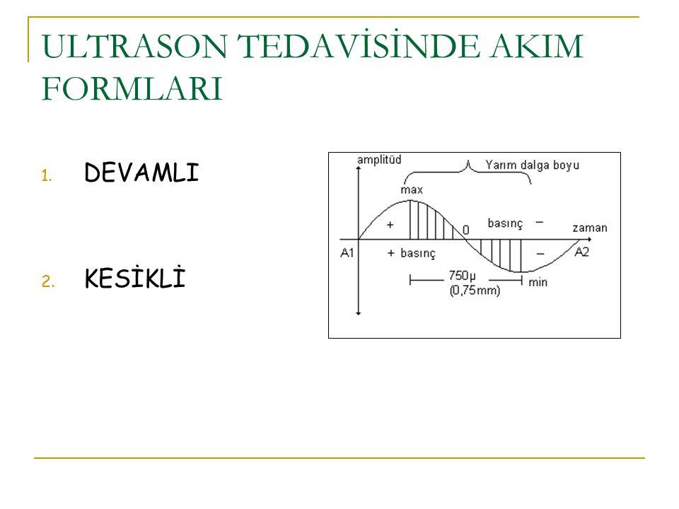 ULTRASON TEDAVİSİNDE AKIM FORMLARI 1. DEVAMLI 2. KESİKLİ