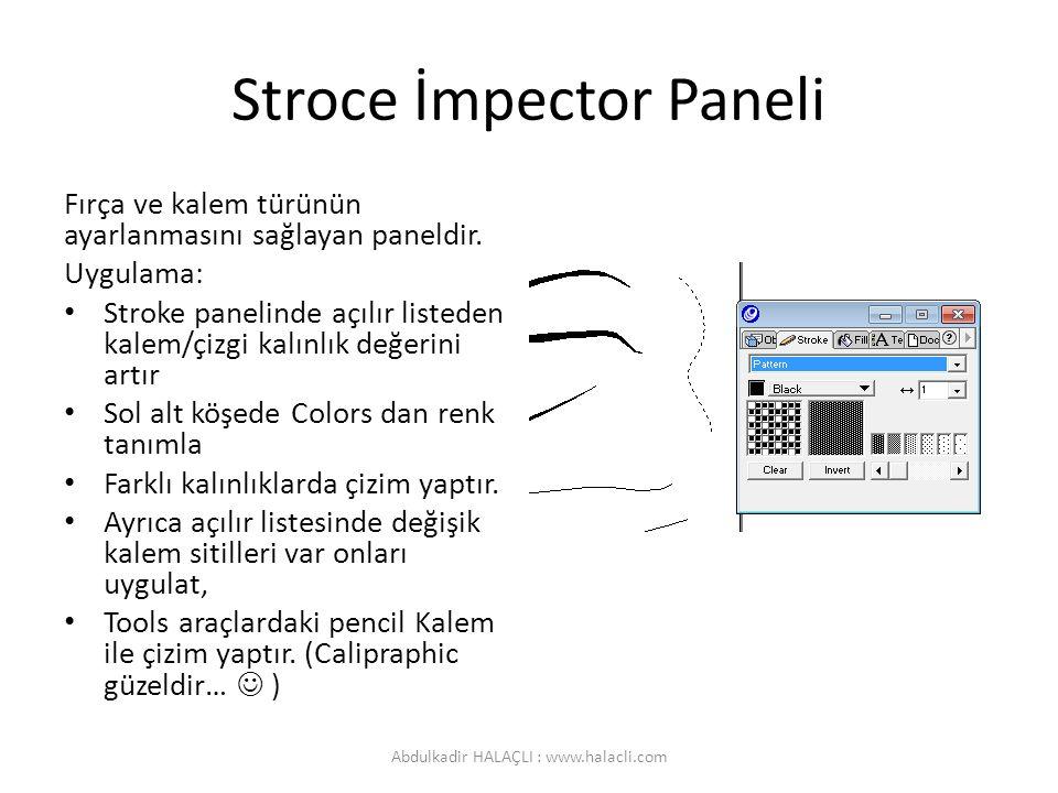 Stroce İmpector Paneli Fırça ve kalem türünün ayarlanmasını sağlayan paneldir. Uygulama: Stroke panelinde açılır listeden kalem/çizgi kalınlık değerin