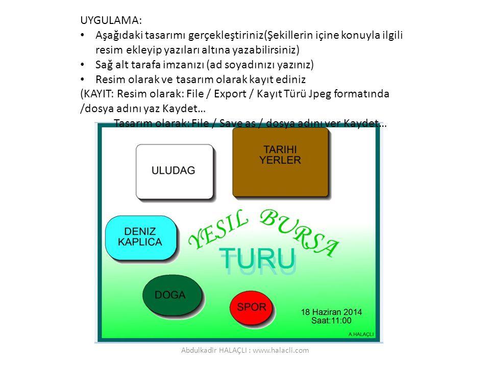 UYGULAMA: Aşağıdaki tasarımı gerçekleştiriniz(Şekillerin içine konuyla ilgili resim ekleyip yazıları altına yazabilirsiniz) Sağ alt tarafa imzanızı (a