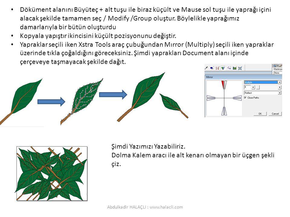 Döküment alanını Büyüteç + alt tuşu ile biraz küçült ve Mause sol tuşu ile yaprağı içini alacak şekilde tamamen seç / Modify /Group oluştur. Böylelikl