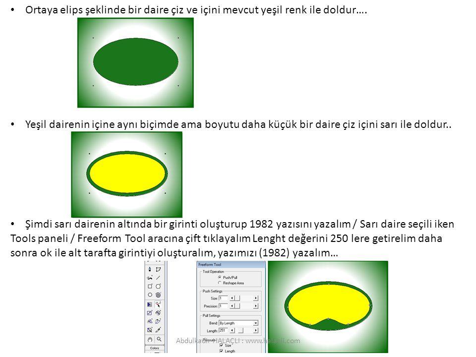 Ortaya elips şeklinde bir daire çiz ve içini mevcut yeşil renk ile doldur…. Yeşil dairenin içine aynı biçimde ama boyutu daha küçük bir daire çiz için