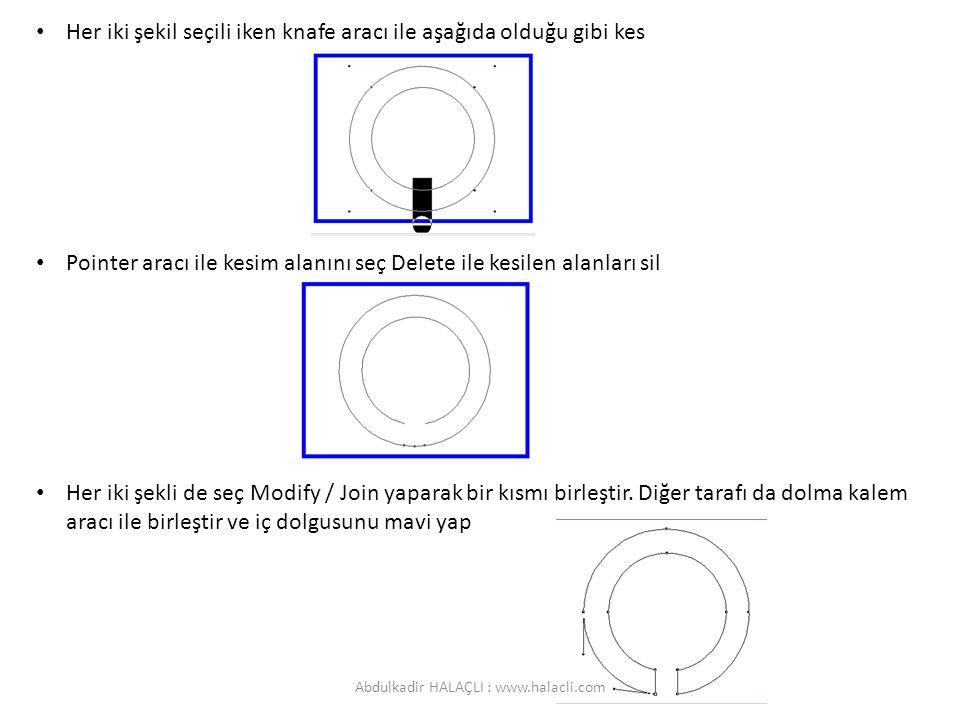 Her iki şekil seçili iken knafe aracı ile aşağıda olduğu gibi kes Pointer aracı ile kesim alanını seç Delete ile kesilen alanları sil Her iki şekli de seç Modify / Join yaparak bir kısmı birleştir.