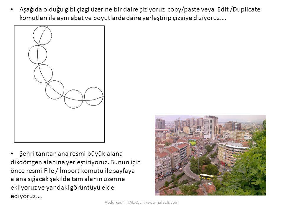 Aşağıda olduğu gibi çizgi üzerine bir daire çiziyoruz copy/paste veya Edit /Duplicate komutları ile aynı ebat ve boyutlarda daire yerleştirip çizgiye diziyoruz….