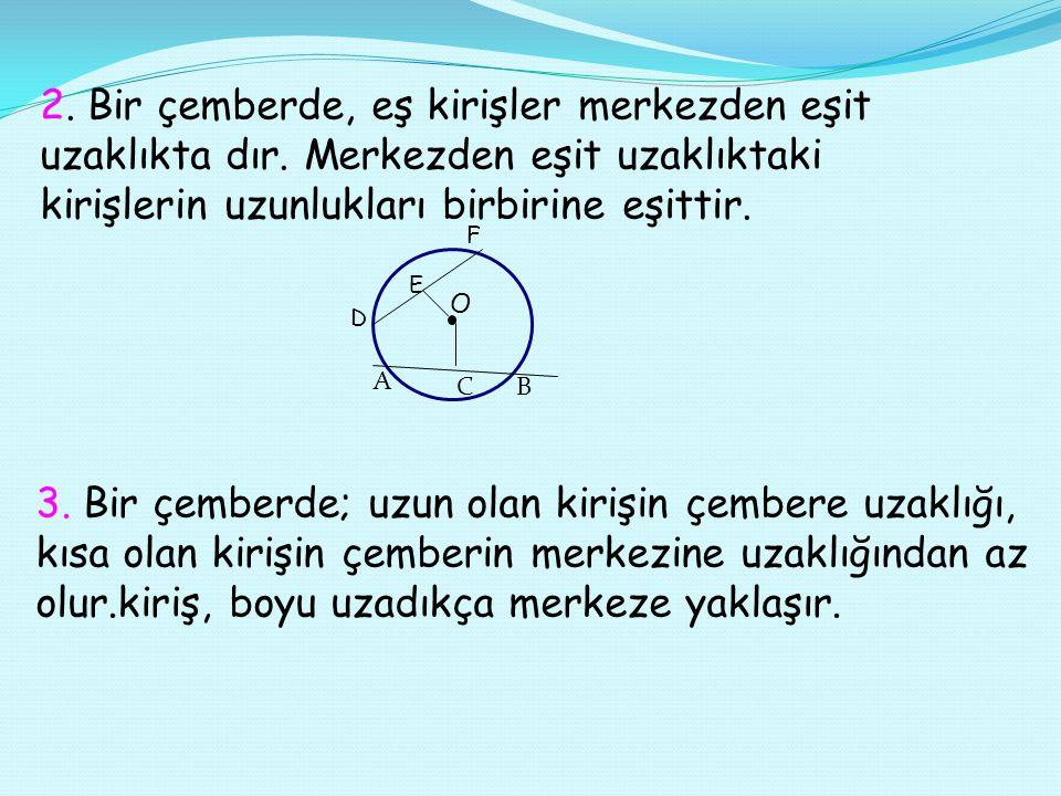 Kirişin Özellikleri 1.AB kirişinin orta noktası H dır. Çemberin merkeziyle H Noktasından geçen doğru d doğrusudur. l OA l = l OB l olduğundan, OAB üçg