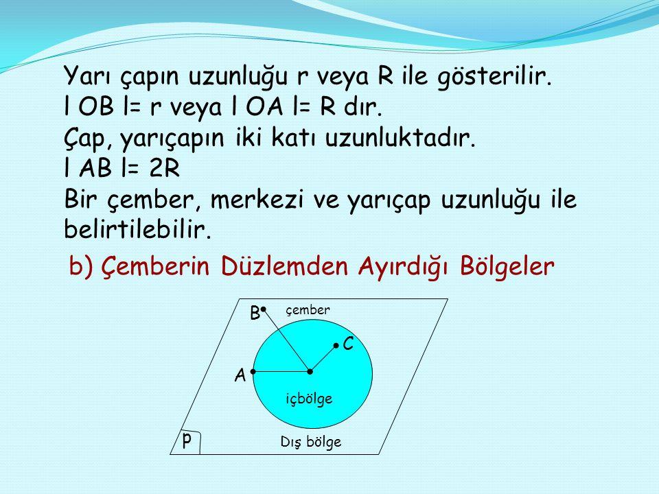 Yarı çapın uzunluğu r veya R ile gösterilir.l OB l= r veya l OA l= R dır.