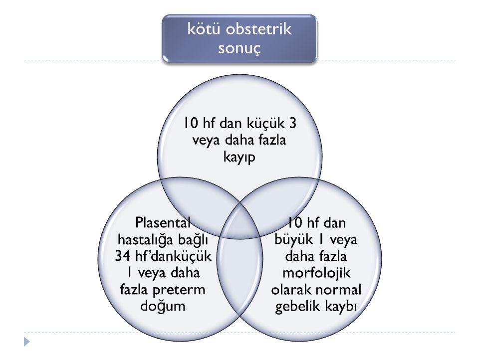 kötü obstetrik sonuç 10 hf dan küçük 3 veya daha fazla kayıp 10 hf dan büyük 1 veya daha fazla morfolojik olarak normal gebelik kaybı Plasental hastalı ğ a ba ğ lı 34 hf'danküçük 1 veya daha fazla preterm do ğ um
