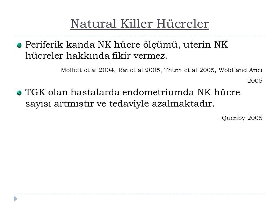Natural Killer Hücreler Periferik kanda NK hücre ölçümü, uterin NK hücreler hakkında fikir vermez.