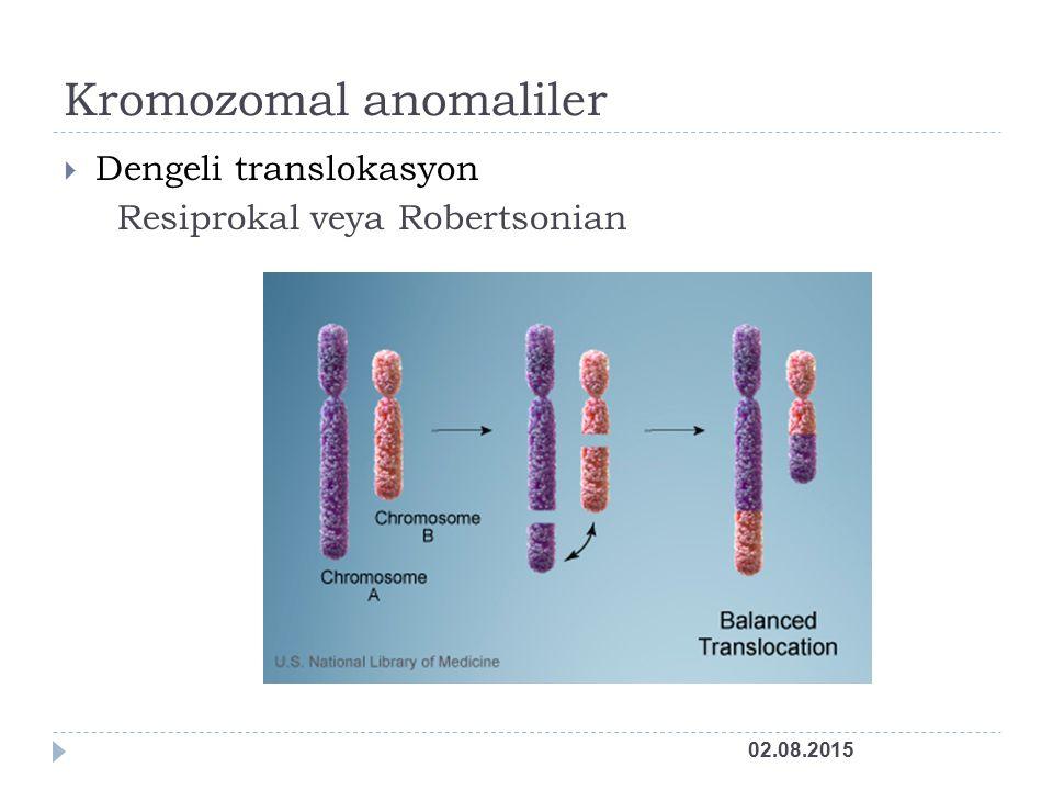 Kromozomal anomaliler  Dengeli translokasyon Resiprokal veya Robertsonian 02.08.2015