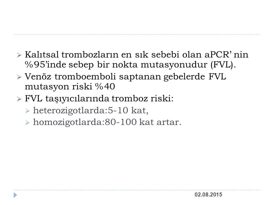  Kalıtsal trombozların en sık sebebi olan aPCR' nin %95'inde sebep bir nokta mutasyonudur (FVL).
