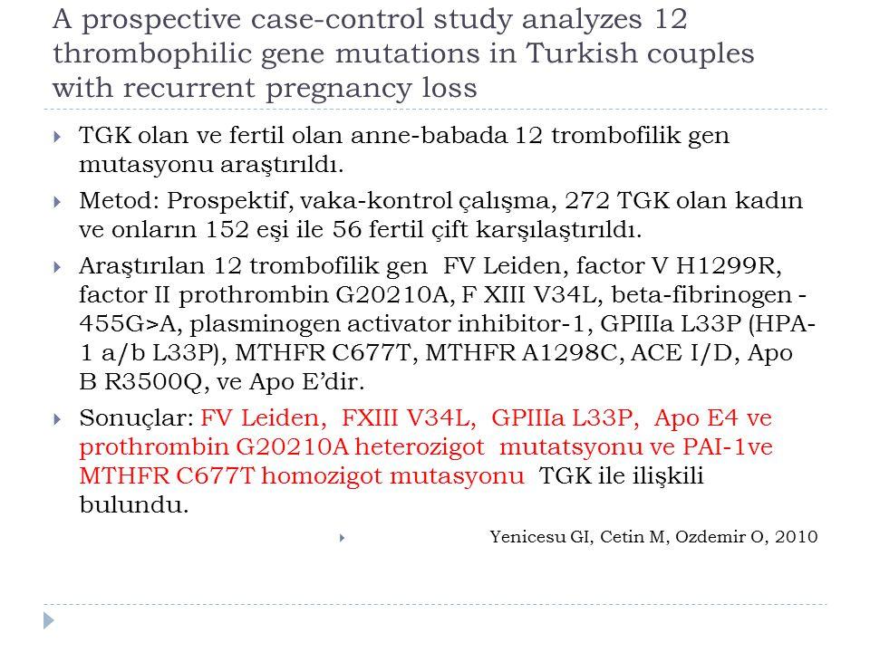 A prospective case-control study analyzes 12 thrombophilic gene mutations in Turkish couples with recurrent pregnancy loss  TGK olan ve fertil olan anne-babada 12 trombofilik gen mutasyonu araştırıldı.