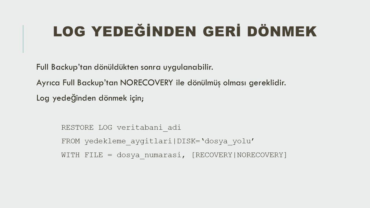 SQL SERVER MANAGEMENT STUDIO İLE YEDEKTEN DÖNMEK Bunun için veritabanına sa ğ tıklandıktan sonra «Tasks/Restore» menüsünden «Database» seçilerek ilgili sayfaya geçilebilir.