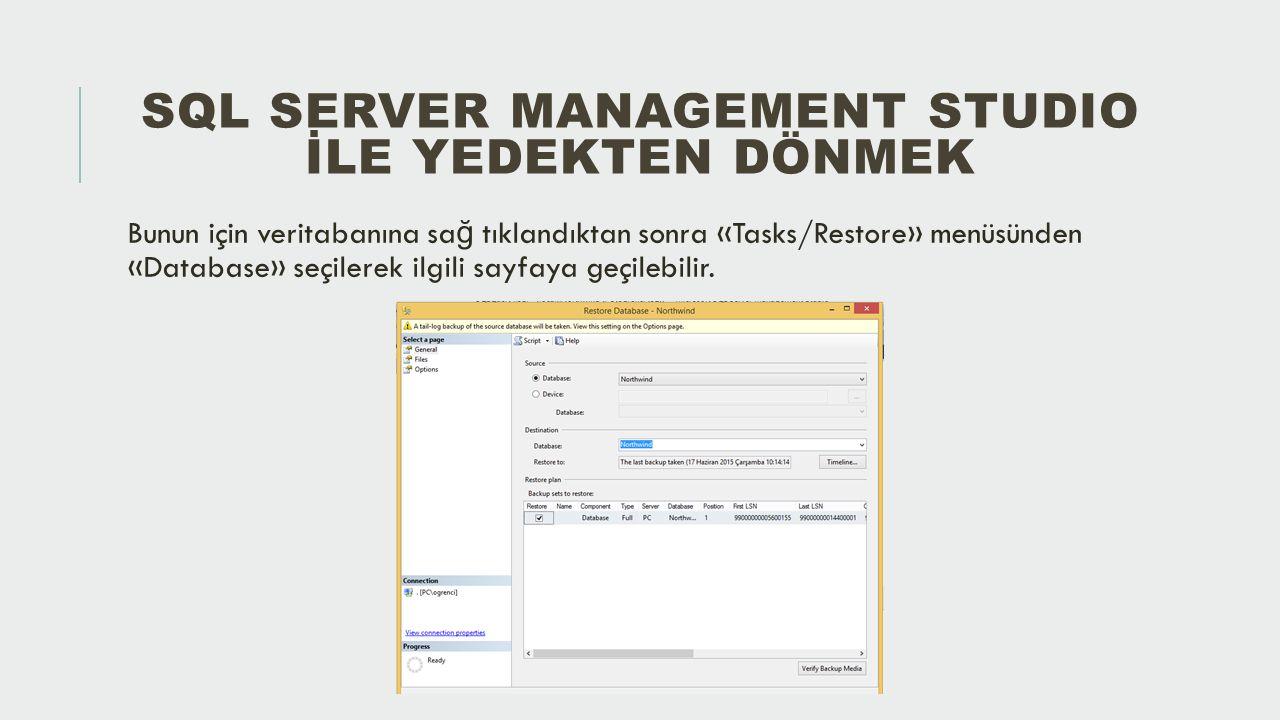 KAYNAKLAR https://technet.microsoft.com/tr-tr/library/ms187510(v=sql.110).aspx http://www.turgaysahtiyan.com/post/Transaction-Log-Backup-ile-Istenilen-Bir-Ana- Donmek.aspxhttp://www.turgaysahtiyan.com/post/Transaction-Log-Backup-ile-Istenilen-Bir-Ana- Donmek.aspx http://www.kodlamamerkezi.com/veritabani-sql/sql-server-yedek-alma-ve-yedegi- geri-yukleme/http://www.kodlamamerkezi.com/veritabani-sql/sql-server-yedek-alma-ve-yedegi- geri-yukleme/