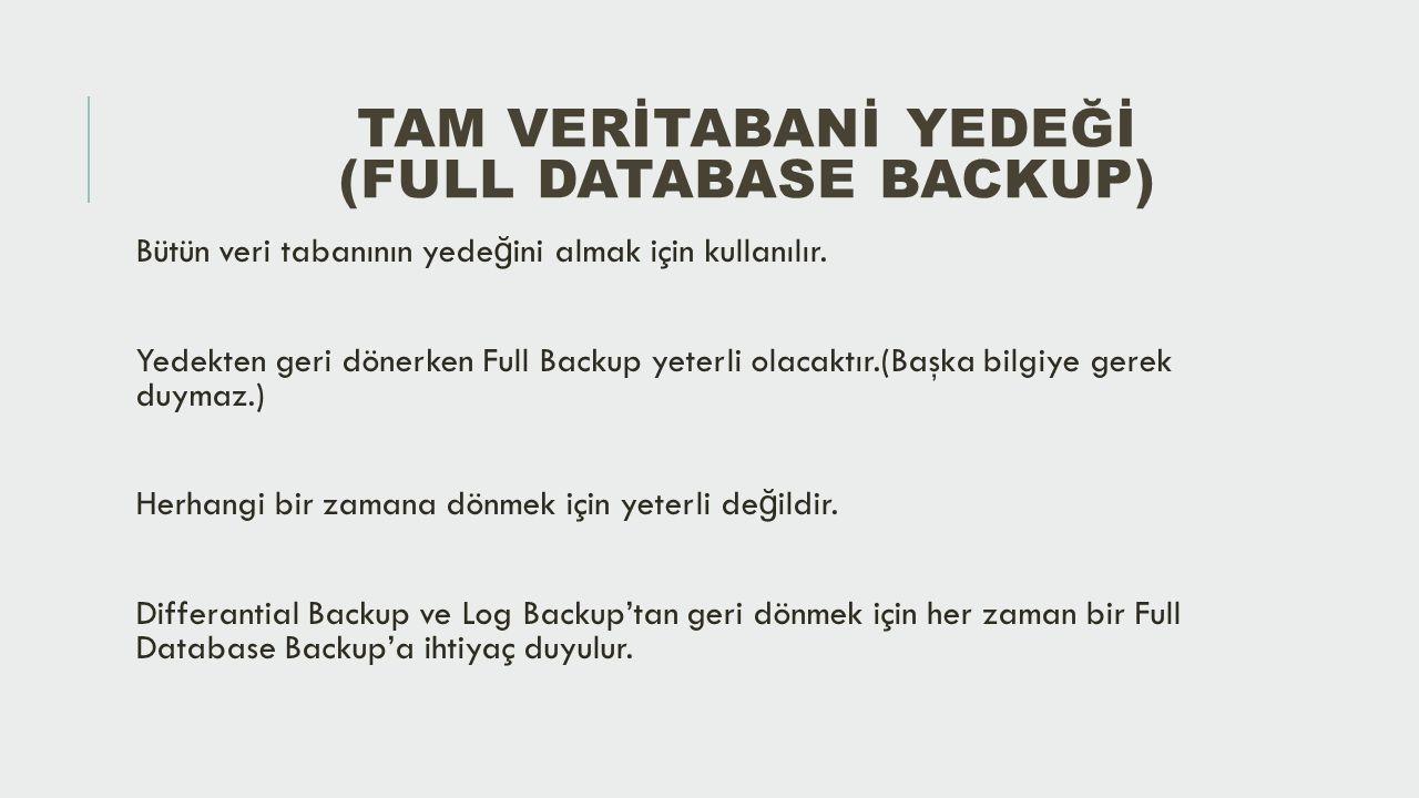 FARK YEDEĞİ (DIFFERANTIAL BACKUP) Son alınan Full Backup'tan sonraki veri farklarını içerir.