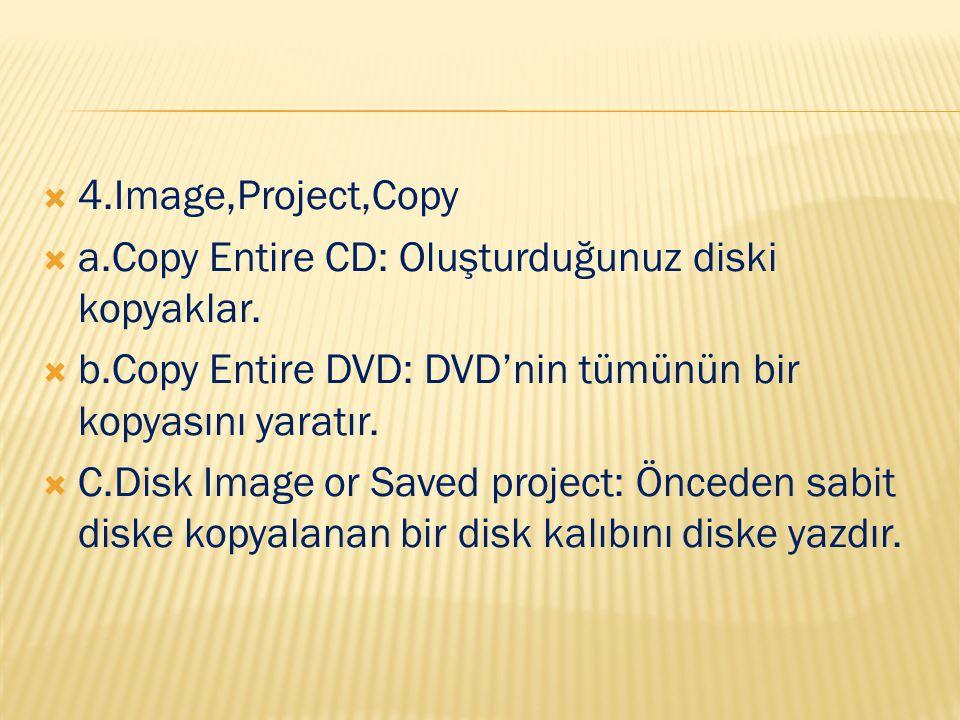  4.Image,Project,Copy  a.Copy Entire CD: Oluşturduğunuz diski kopyaklar.