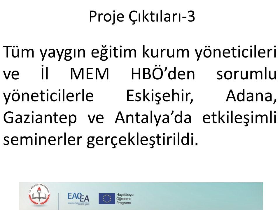 Proje Çıktıları-3 Tüm yaygın eğitim kurum yöneticileri ve İl MEM HBÖ'den sorumlu yöneticilerle Eskişehir, Adana, Gaziantep ve Antalya'da etkileşimli seminerler gerçekleştirildi.