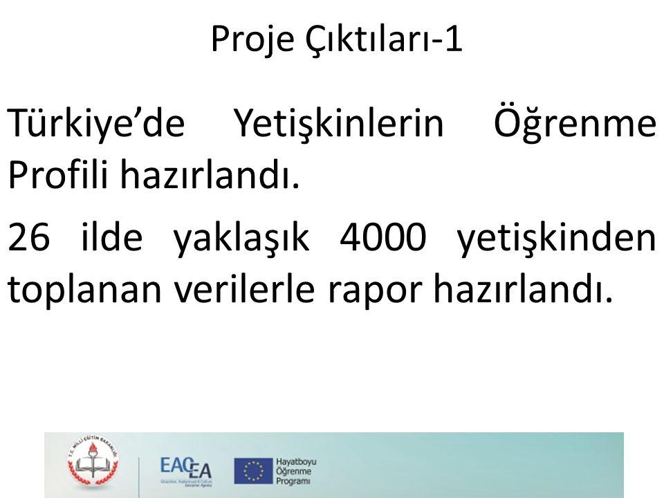 Proje Çıktıları-1 Türkiye'de Yetişkinlerin Öğrenme Profili hazırlandı.