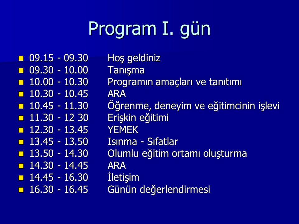 Program I. gün 09.15 - 09.30Hoş geldiniz 09.15 - 09.30Hoş geldiniz 09.30 - 10.00Tanışma 09.30 - 10.00Tanışma 10.00 - 10.30Programın amaçları ve tanıtı