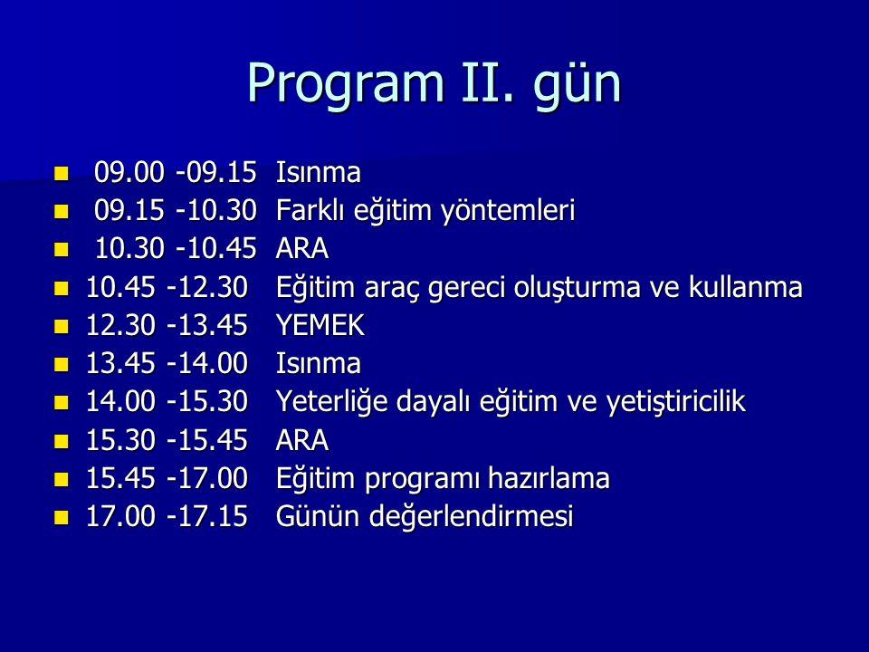 Program II. gün 09.00 -09.15 Isınma 09.00 -09.15 Isınma 09.15 -10.30 Farklı eğitim yöntemleri 09.15 -10.30 Farklı eğitim yöntemleri 10.30 -10.45 ARA 1