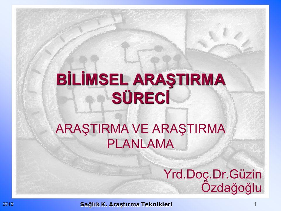 22012 Sağlık K.Araştırma Teknikleri ARAŞTIRMA NEDİR.