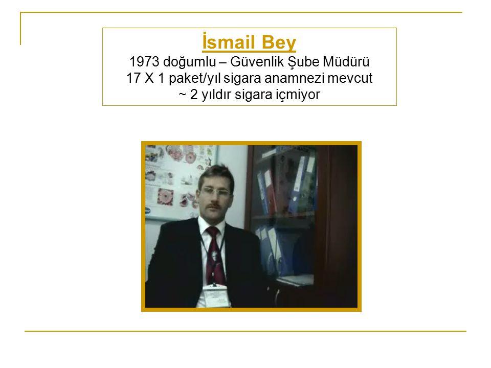İsmail Bey 1973 doğumlu – Güvenlik Şube Müdürü 17 X 1 paket/yıl sigara anamnezi mevcut ~ 2 yıldır sigara içmiyor