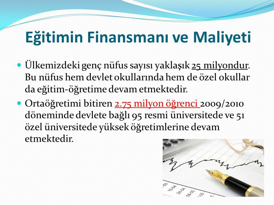 Eğitimin Finansmanı ve Maliyeti Ülkemizdeki genç nüfus sayısı yaklaşık 25 milyondur. Bu nüfus hem devlet okullarında hem de özel okullar da eğitim-öğr