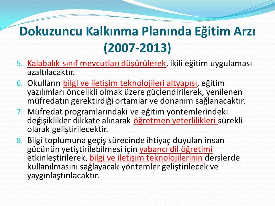 Dokuzuncu Kalkınma Planında Eğitim Arzı (2007-2013) 5. Kalabalık sınıf mevcutları düşürülerek, ikili eğitim uygulaması azaltılacaktır. 6. Okulların bi
