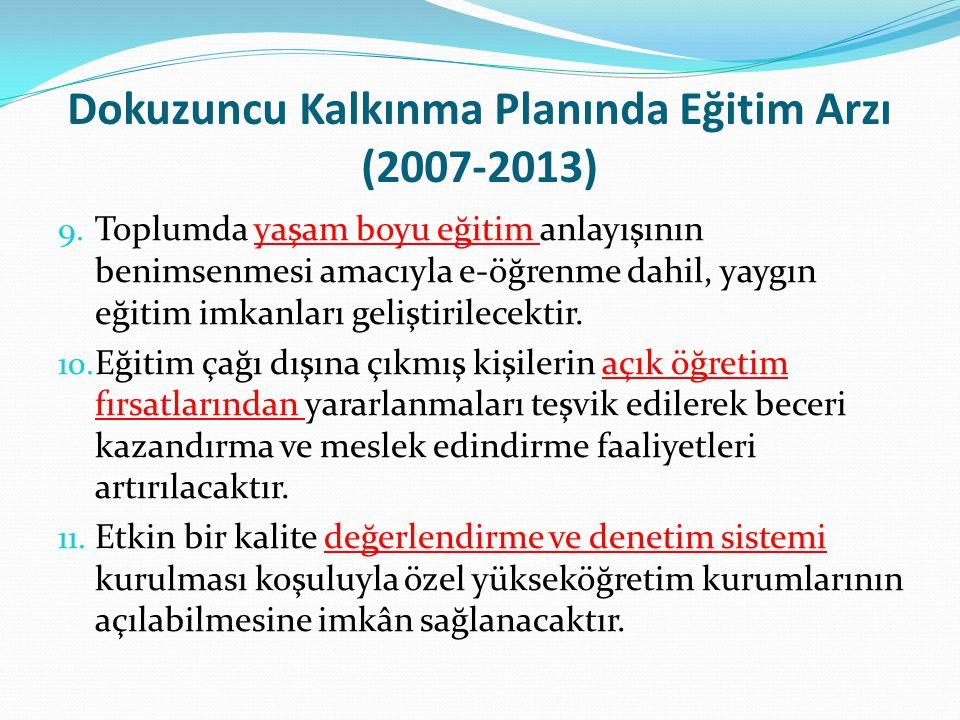 Dokuzuncu Kalkınma Planında Eğitim Arzı (2007-2013) 9. Toplumda yaşam boyu eğitim anlayışının benimsenmesi amacıyla e-öğrenme dahil, yaygın eğitim imk