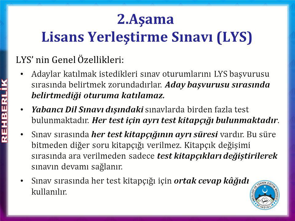 LYS' de uygulanan her test ayrı ayrı değerlendirmeye alınır ve her test için bir standart puan hesaplanır.