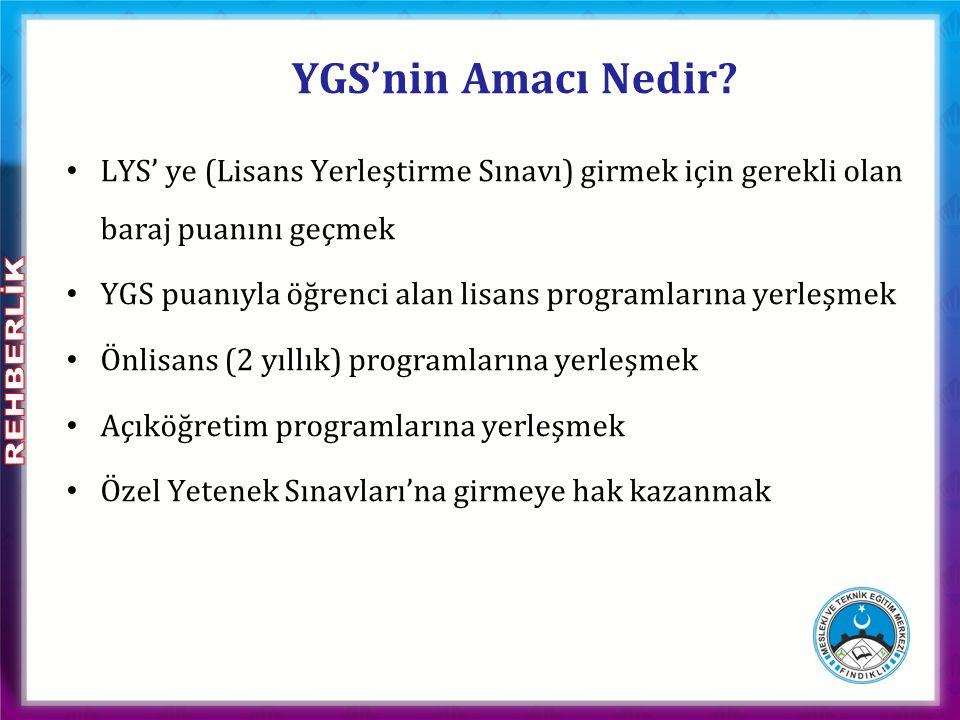 YGS' de Baraj Puanlar 1) Taban puan: 140 puan - Önlisans programları ile açıköğretim programlarını tercih etme hakkı.