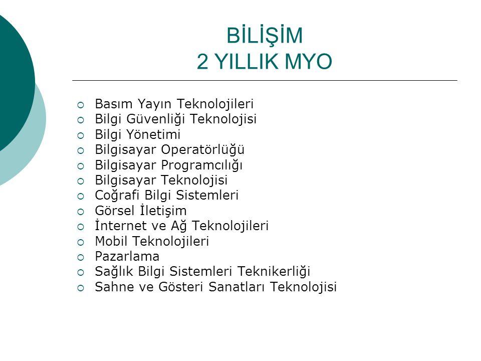 BİLİŞİM 2 YILLIK MYO  Basım Yayın Teknolojileri  Bilgi Güvenliği Teknolojisi  Bilgi Yönetimi  Bilgisayar Operatörlüğü  Bilgisayar Programcılığı  Bilgisayar Teknolojisi  Coğrafi Bilgi Sistemleri  Görsel İletişim  İnternet ve Ağ Teknolojileri  Mobil Teknolojileri  Pazarlama  Sağlık Bilgi Sistemleri Teknikerliği  Sahne ve Gösteri Sanatları Teknolojisi