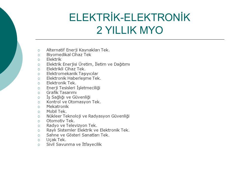 ELEKTRİK-ELEKTRONİK 2 YILLIK MYO  Alternatif Enerji Kaynakları Tek.