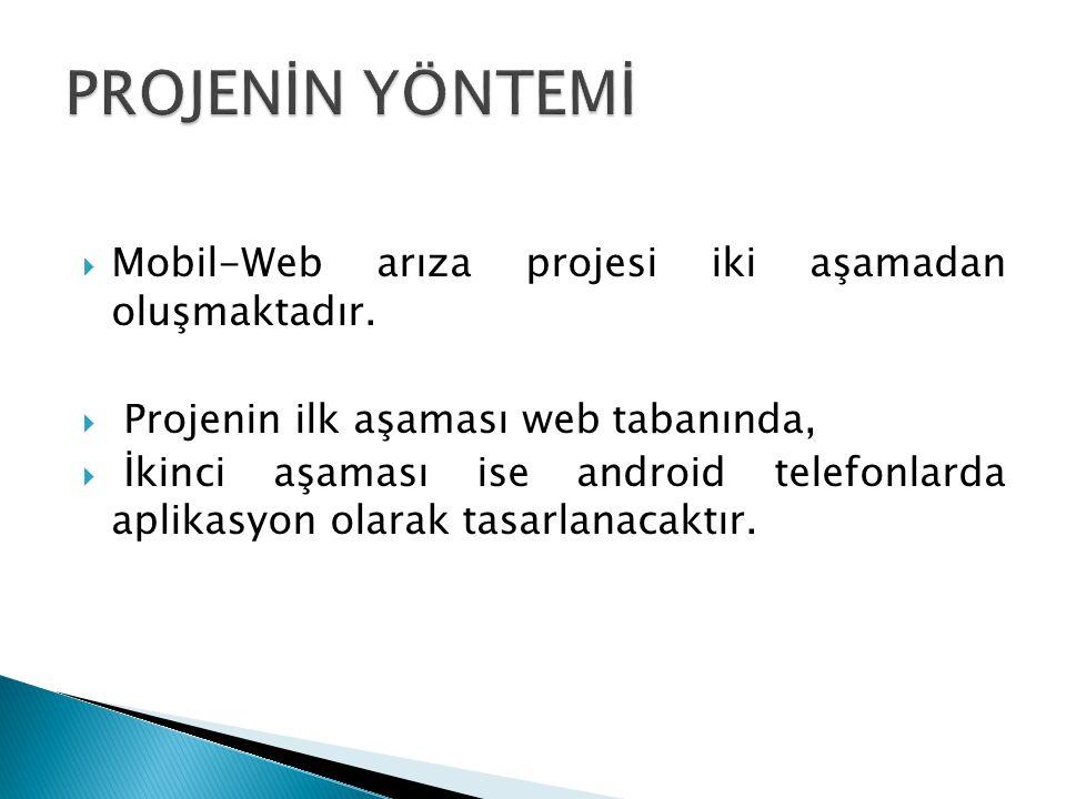  Mobil-Web arıza projesi iki aşamadan oluşmaktadır.  Projenin ilk aşaması web tabanında,  İkinci aşaması ise android telefonlarda aplikasyon olarak