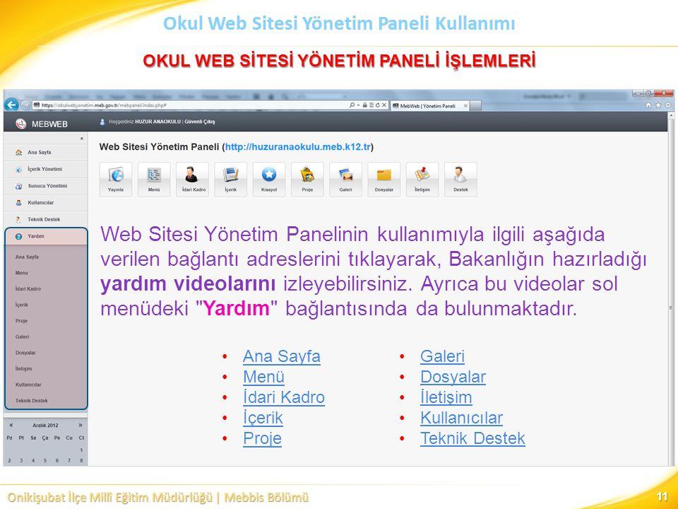Onikişubat İlçe Millî Eğitim Müdürlüğü | Mebbis Bölümü Okul Web Sitesi Yönetim Paneli Kullanımı 11 Ana Sayfa Menü İdari Kadro İçerik Proje Web Sitesi