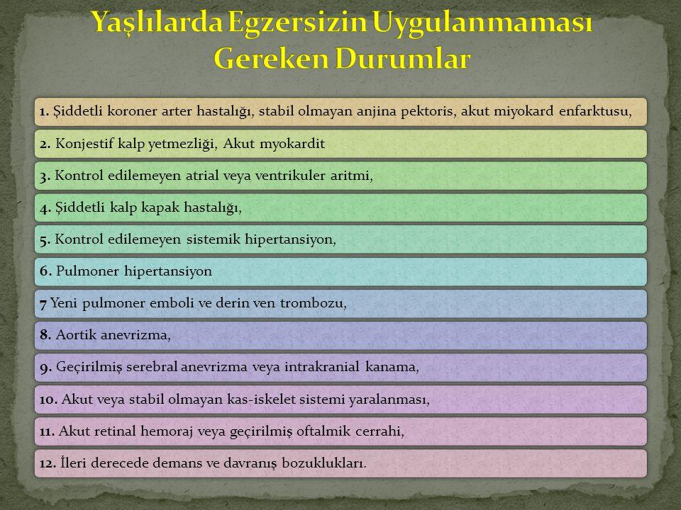 1. Şiddetli koroner arter hastalığı, stabil olmayan anjina pektoris, akut miyokard enfarktusu,2.