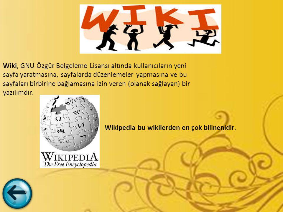 Wiki, GNU Özgür Belgeleme Lisansı altında kullanıcıların yeni sayfa yaratmasına, sayfalarda düzenlemeler yapmasına ve bu sayfaları birbirine bağlaması