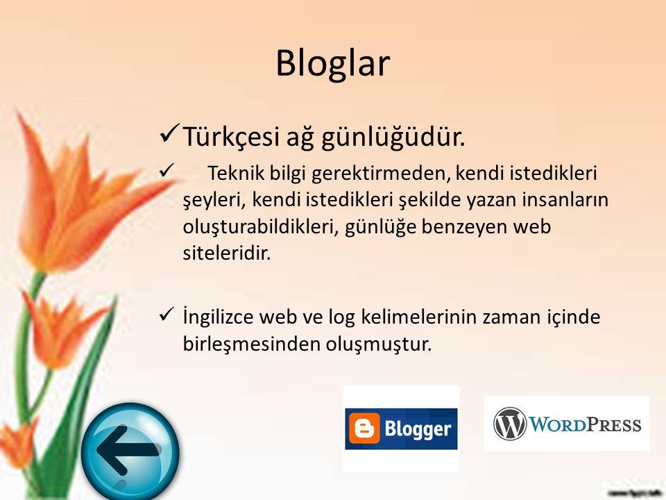 Bloglar Türkçesi ağ günlüğüdür. Teknik bilgi gerektirmeden, kendi istedikleri şeyleri, kendi istedikleri şekilde yazan insanların oluşturabildikleri,