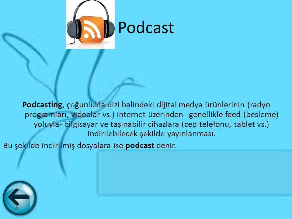 Podcast Podcasting, çoğunlukla dizi halindeki dijital medya ürünlerinin (radyo programları, videolar vs.) internet üzerinden -genellikle feed (besleme